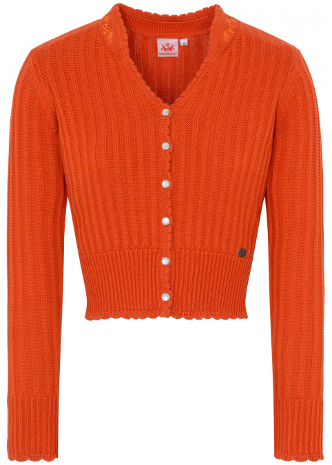 "Strickjacke ""Pfiff"", Orange Frontansicht"