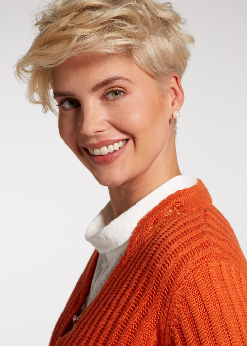"Strickjacke ""Pfiff"", Orange Rückansicht"